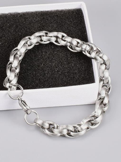 A TEEM Titanium Steel Oval Hip Hop Link Bracelet 2