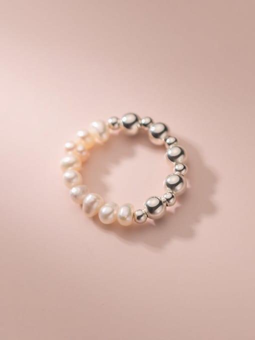 Rosh 925 Sterling Silver Imitation Pearl Round Minimalist Band Ring 2