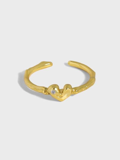 DAKA 925 Sterling Silver Heart Minimalist Band Ring