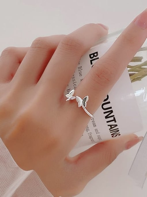 Rosh 925 Sterling Silver  Smooth  Butterfly Minimalist Band Ring 3