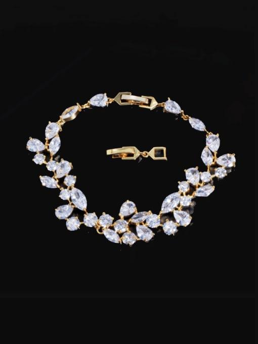Gold Brass Cubic Zirconia Water Drop Luxury Link Bracelet