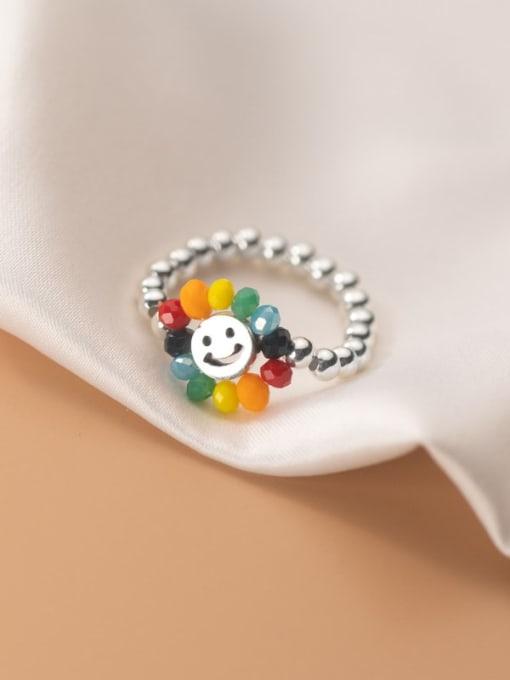 Rosh 925 Sterling Silver Bead Flower Minimalist Band Ring 0