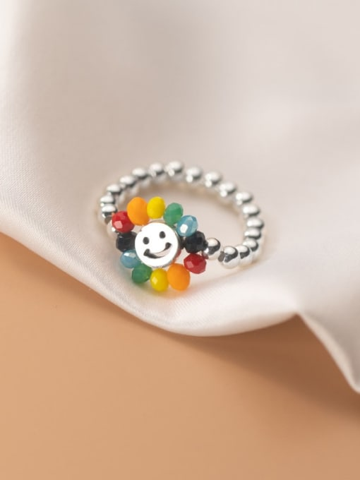 Rosh 925 Sterling Silver Bead Flower Minimalist Band Ring