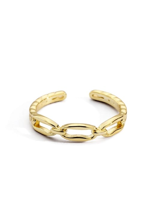 Gold chain ring Brass Cubic Zirconia Geometric Vintage Band Ring