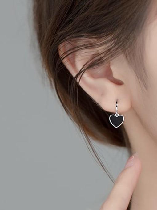 Rosh 925 Sterling Silver Enamel Heart Vintage Stud Earring 1