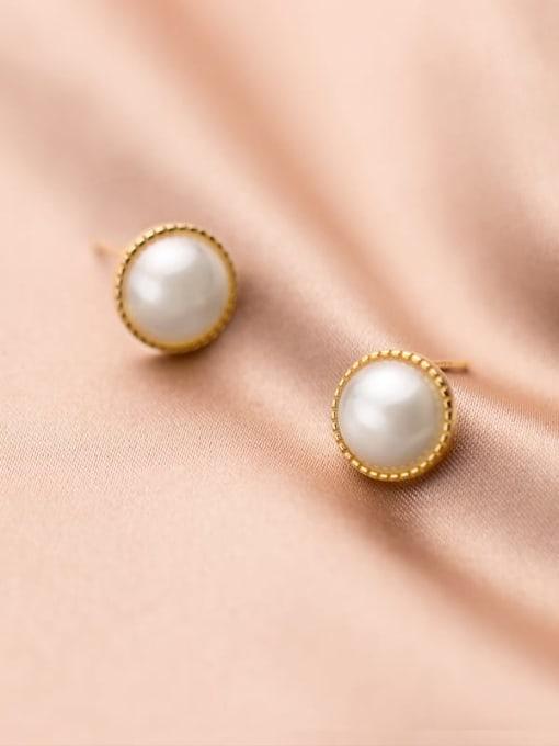 Rosh 925 Sterling Silver Imitation Pearl Round Minimalist Stud Earring 2