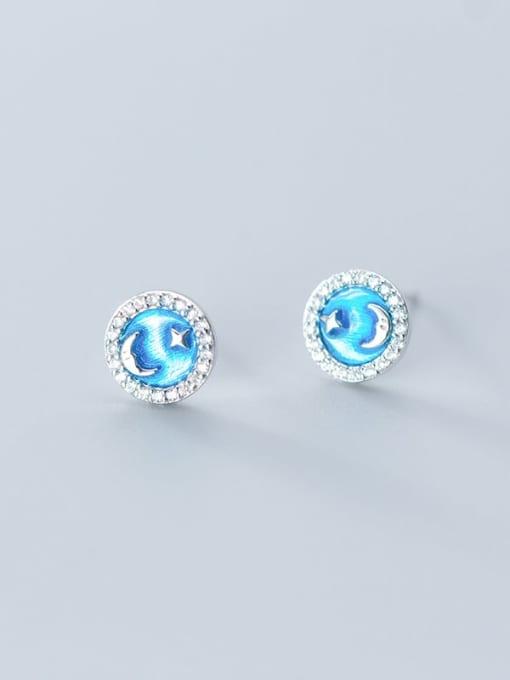 Rosh 925 Sterling Silver Cubic Zirconia Enamel Round Minimalist Stud Earring 3