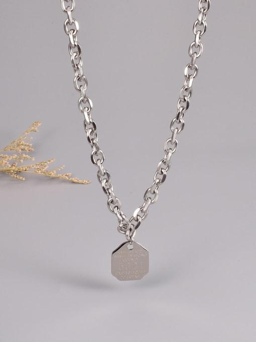 A TEEM Titanium Steel Letter Hip Hop Hollow Chain Necklace 4