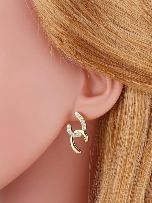 CC Brass Cubic Zirconia Geometric Minimalist Stud Earring 1