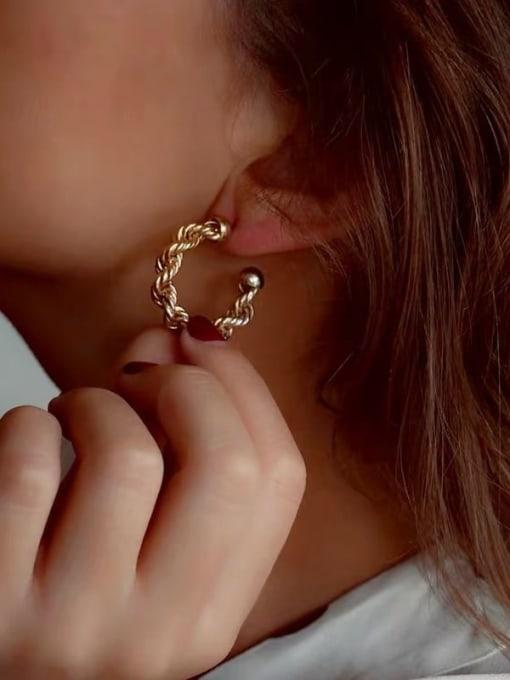 LI MUMU Brass  Twist Geometric Vintage Hoop Earring 2