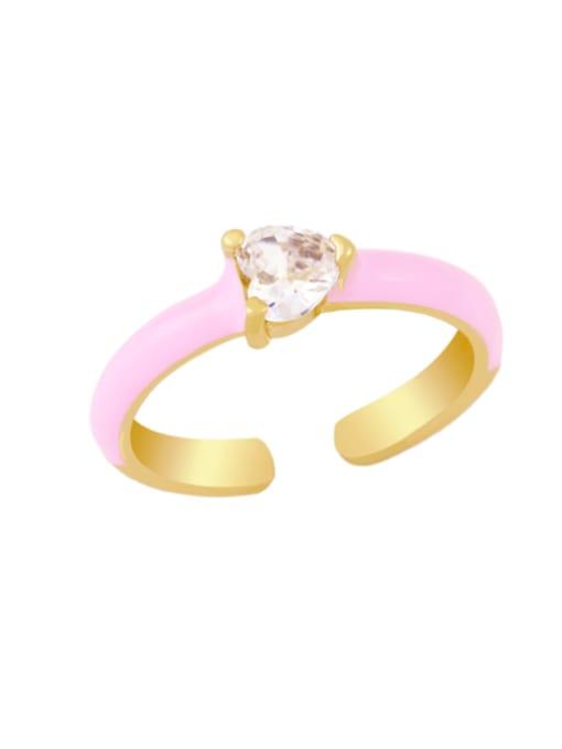 pink Brass Enamel Cubic Zirconia Heart Minimalist Band Ring