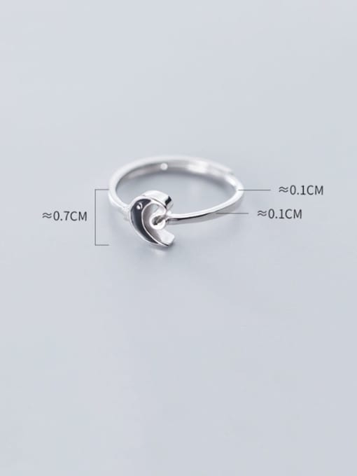Rosh 925 Sterling Silver Enamel Black Moon Minimalist Band Ring 3