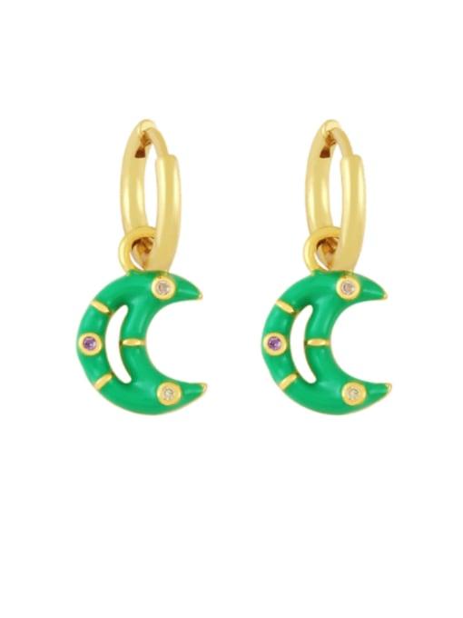 green Brass Enamel Moon Hip Hop Huggie Earring