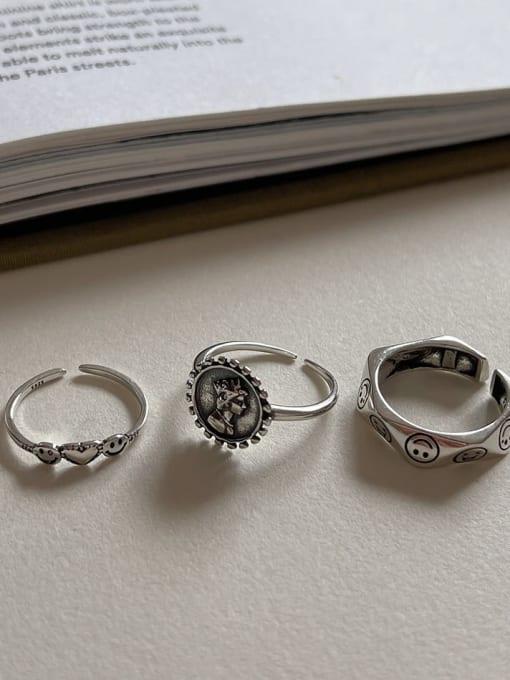 LI MUMU 925 Sterling Silver Hollow Irregular Vintage Band Ring 2
