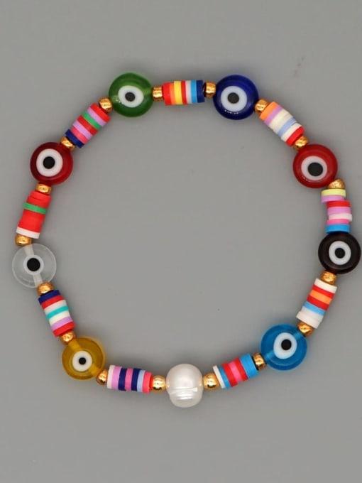Roxi Stainless steel Glass Bead Multi Color Evil Eye Bohemia Handmade Weave Bracelet 2