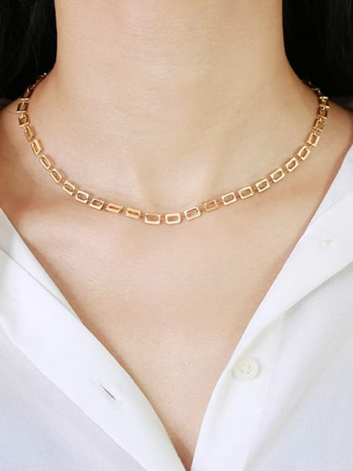 CONG Titanium Steel Hollow Geometric Minimalist Necklace 2