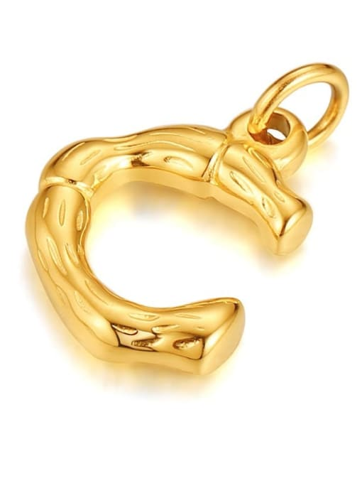 Letter C, without chain Titanium Steel  26 Letter Minimalist  Pendant Necklace