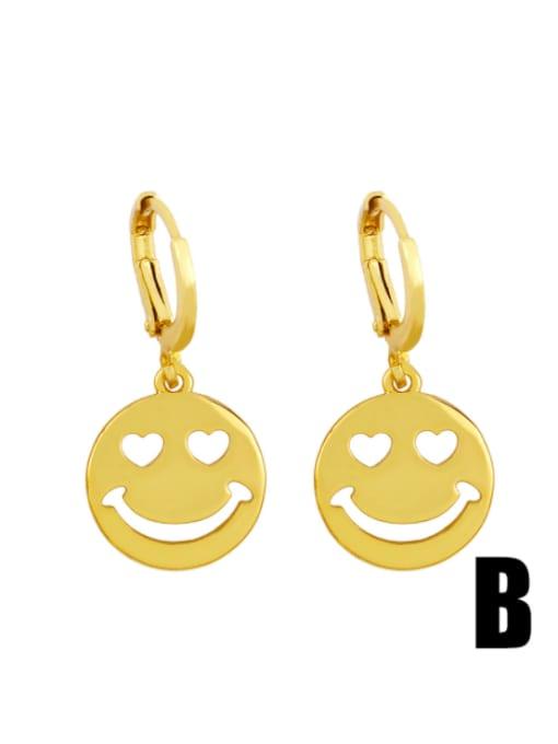 B Brass Rhinestone Smiley Hip Hop Huggie Earring