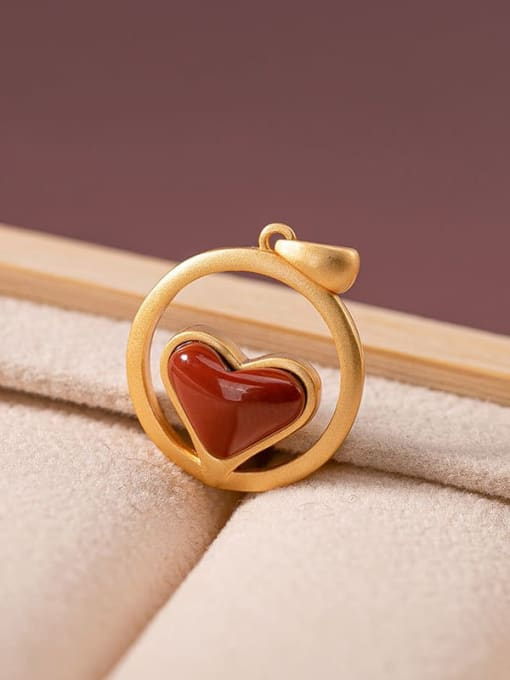 South Red (excluding chain) 925 Sterling Silver Carnelian Vintage Heart Pendant