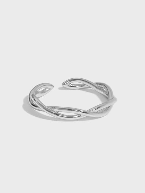 DAKA 925 Sterling Silver Irregular Minimalist Twist Interweave Band Ring 0