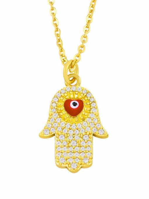 red Brass Cubic Zirconia Enamel Evil Eye Hip Hop Necklace