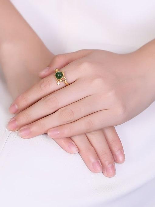 DEER 925 Sterling Silver Jade Geometric Vintage Band Ring 1