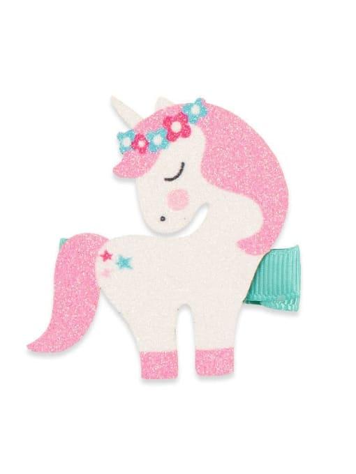 2 Unicorn Alloy Fabric Cute Icon Multi Color Hair Barrette