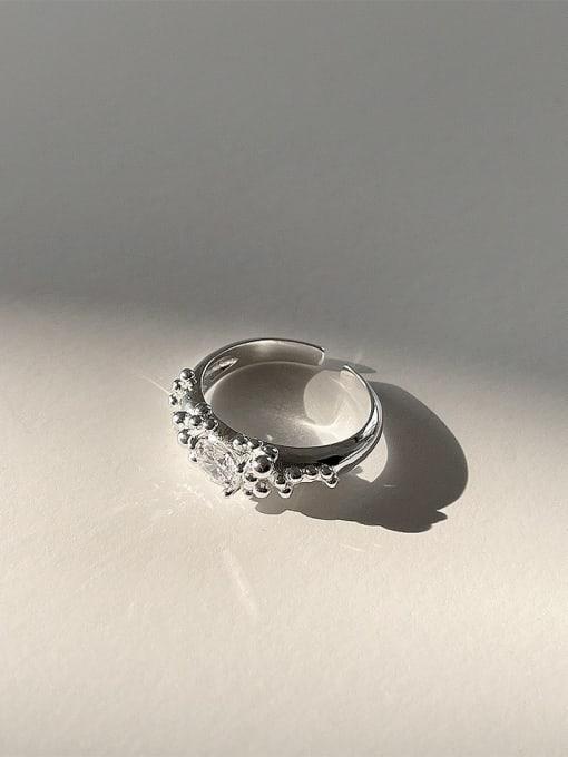 Round diamond foam ring j1566 3.5 925 Sterling Silver Irregular Vintage Band Ring