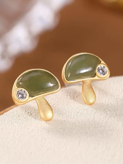 DEER 925 Sterling Silver Jade Mushroom Vintage Stud Earring 0
