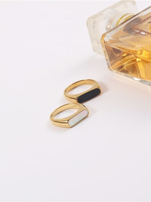 GROSE Stainless steel Shell Geometric Minimalist Band Ring 3