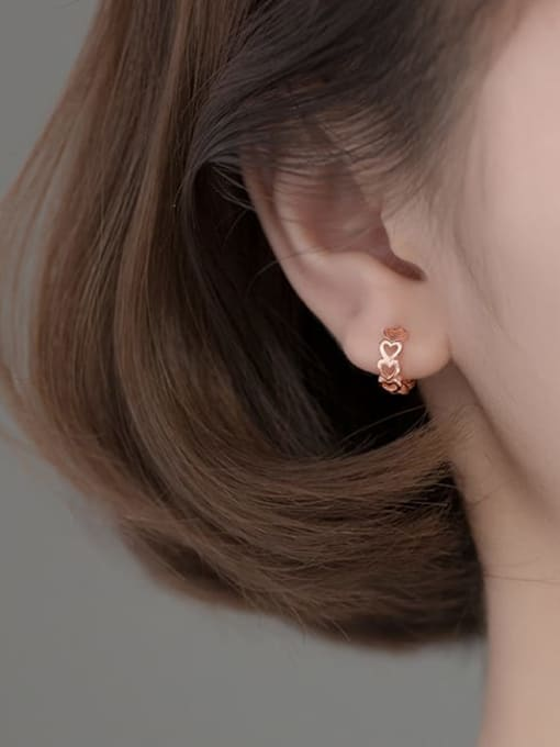 Rosh 925 Sterling Silver Heart Minimalist Huggie Earring 1