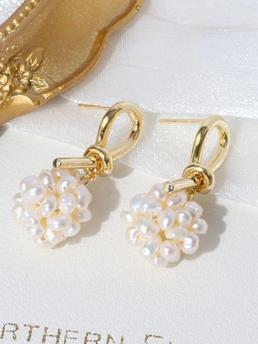 RAIN Brass Freshwater Pearl Bowknot Vintage Stud Earring 2
