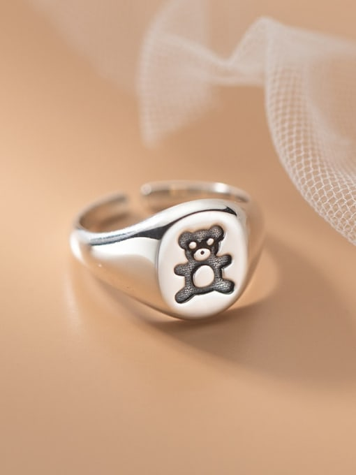 Rosh 925 Sterling Silver Bear Cute Band Ring 1