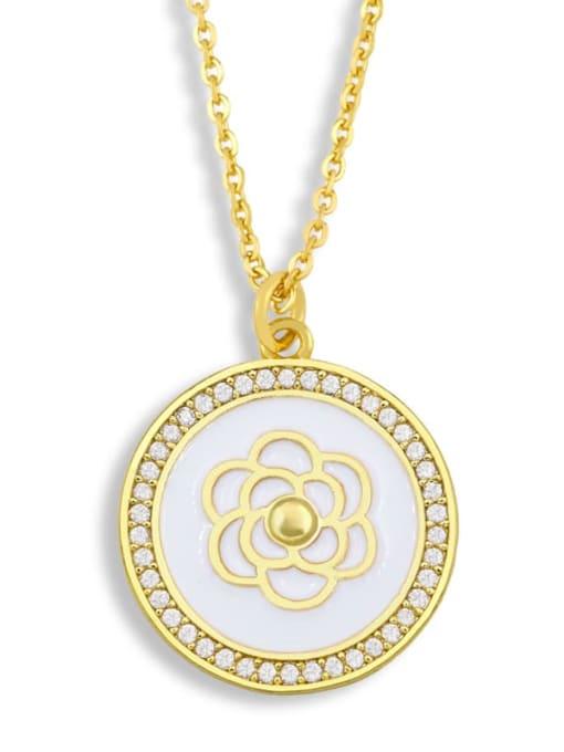 CC Brass Cubic Zirconia Enamel Flower Ethnic Necklace 2