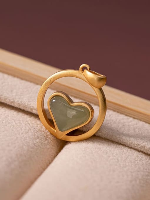 Blue jade (excluding chain) 925 Sterling Silver Carnelian Vintage Heart Pendant