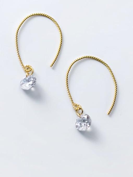 Rosh 925 Sterling Silver Cubic Zirconia Irregular Minimalist Hook Earring 0