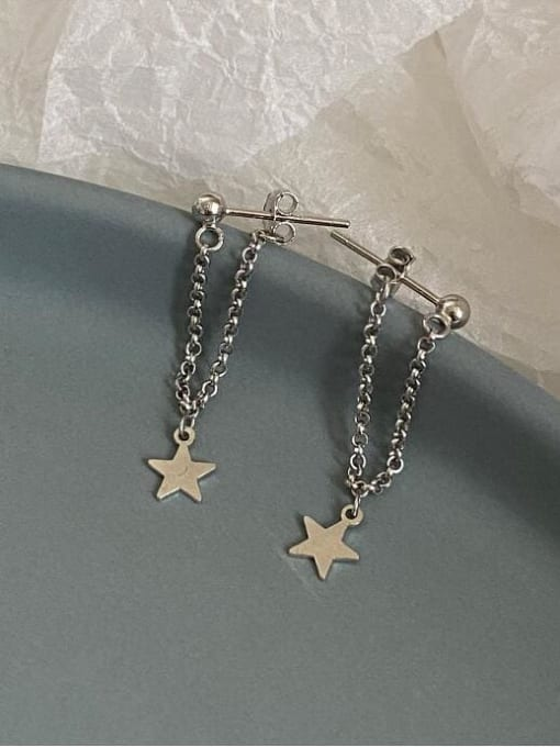 A TEEM Titanium Tassel Minimalist Five-pointed star Drop Earring 4