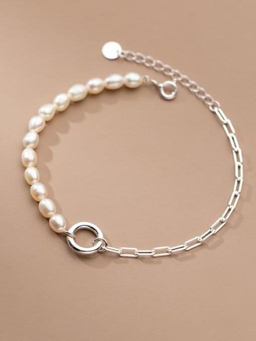 Rosh 925 Sterling Silver Freshwater Pearl Asymmetry Geometric Chain Minimalist Link Bracelet 1