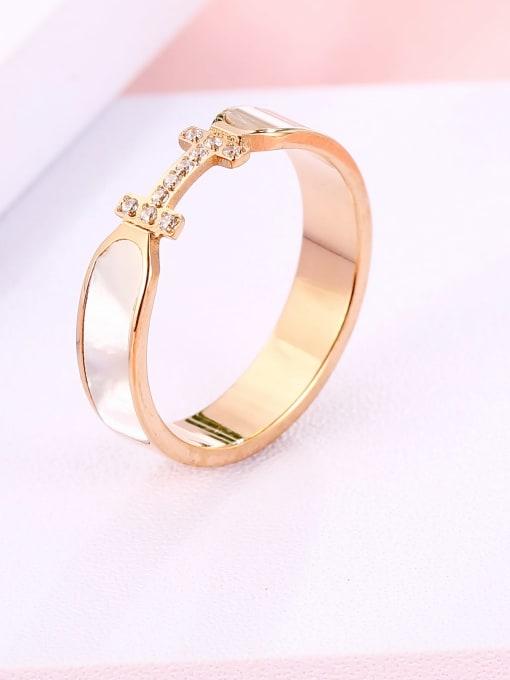 MIYA Titanium Steel Shell Geometric Minimalist Band Ring 0