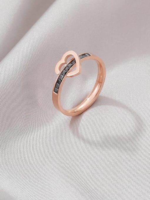 MIYA Titanium Steel Rhinestone Heart Minimalist Band Ring 0