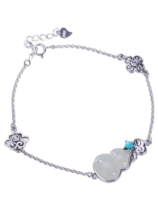 DEER 925 Sterling Silver Jade Irregular Vintage Bracelet