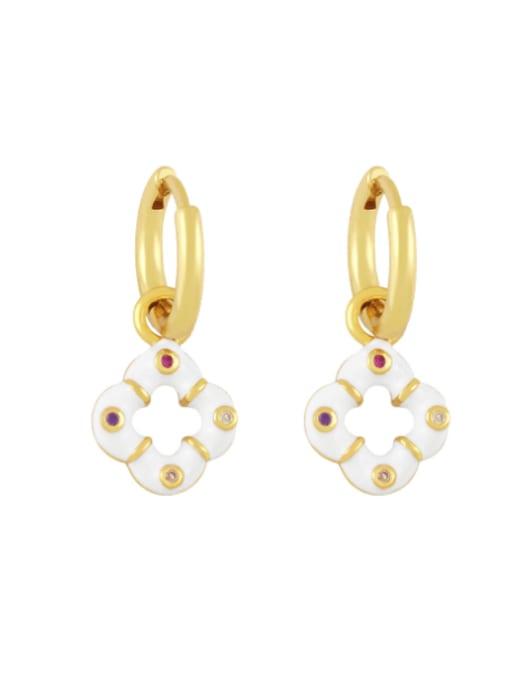 white Brass Enamel Clover Vintage Huggie Earring