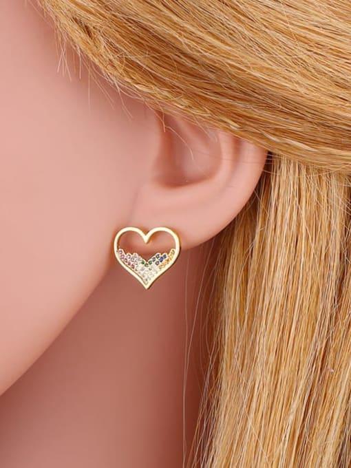CC Brass Cubic Zirconia Heart Vintage Stud Earring 2