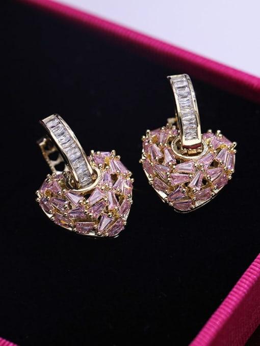 Gold powder zirconium Brass Cubic Zirconia Heart Minimalist Drop Earring