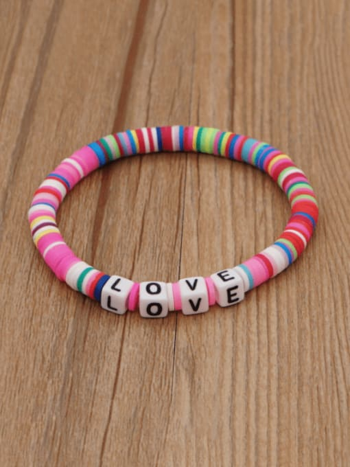 Roxi Stainless steel Multi Color Polymer Clay Letter Bohemia Stretch Bracelet 3
