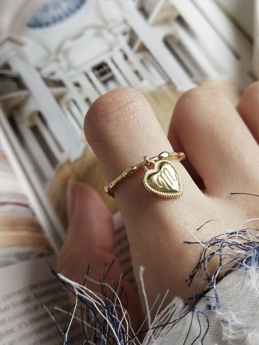 Boomer Cat 925 Sterling Silver Heart Letter Vintage Band Ring 1