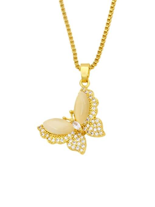 B Brass Cubic Zirconia Enamel Butterfly Cute Necklace