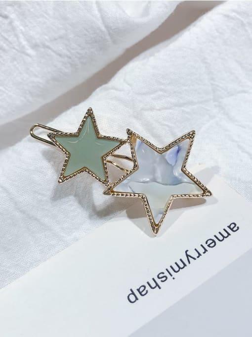 Flower green Alloy Cellulose Acetate Minimalist Star  Hair Pin