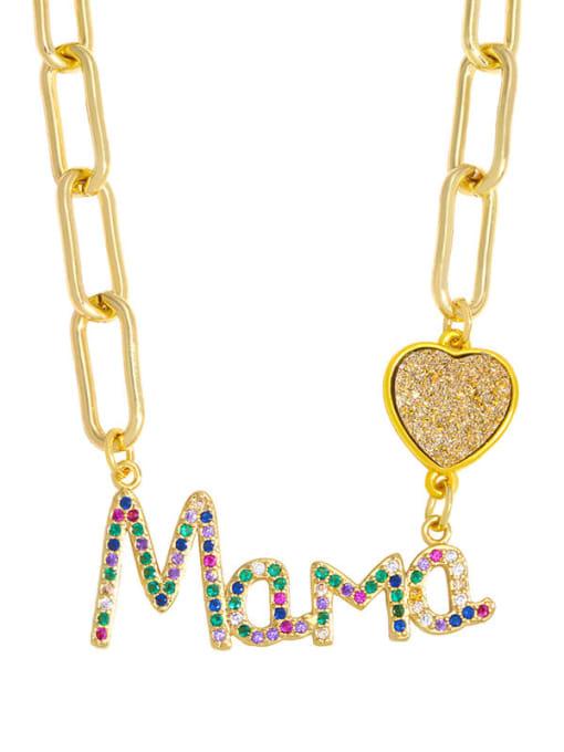 A Brass Cubic Zirconia Letter MAMA Minimalist Pendant Necklace