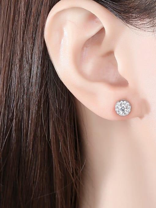BLING SU Brass Cubic Zirconia Round Dainty Stud Earring 1